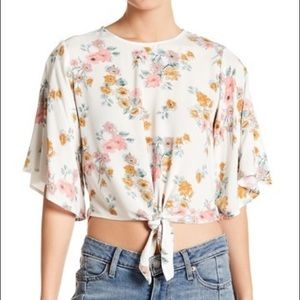 Floral Tie Front 3/4 Length Sleeve Blouse